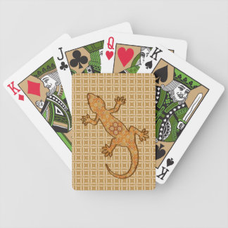 Tribal batik Gecko - rust, amber and tan Bicycle Playing Cards