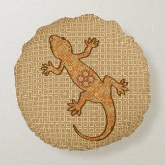 Tribal batik Gecko - rust, amber and tan Round Pillow