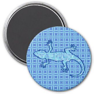 Tribal batik Gecko - soft denim blue Magnet