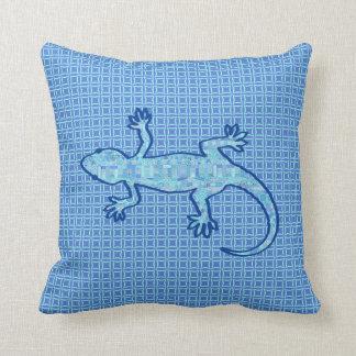Tribal batik Gecko - soft denim blue Pillow