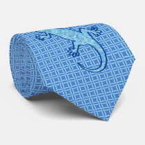 Tribal batik Gecko - soft denim blue Tie