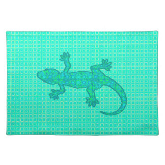 Tribal batik Gecko - turquoise / peacock Cloth Placemat