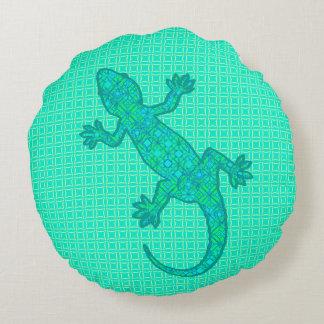Tribal batik Gecko - turquoise / peacock Round Pillow