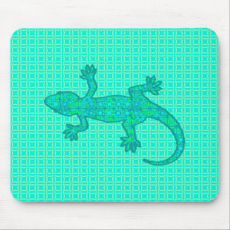 Tribal batik Gecko - turquoise / peacock Mouse Pad