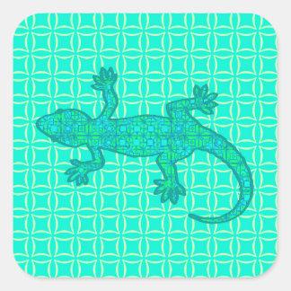 Tribal batik Gecko - turquoise / peacock Square Sticker