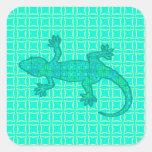 Tribal batik Gecko - turquoise / peacock Stickers