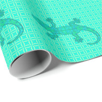 Tribal batik Gecko - turquoise / peacock Wrapping Paper