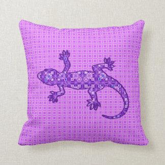 Tribal batik Gecko - violet and amethyst purple Throw Pillows