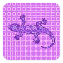 Tribal batik Gecko - violet and amethyst purple Square Sticker