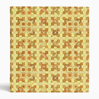 Tribal Batik - golden yellow, brown and tan 3 Ring Binder