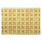 Tribal Batik - golden yellow, brown and tan Cloth Placemat