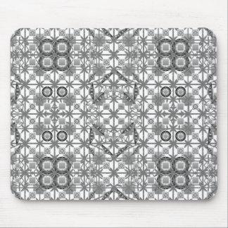 Tribal Batik - grey / gray, black and white Mousepad