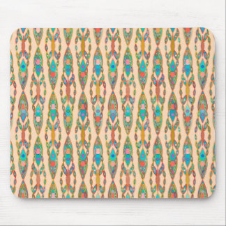 Tribal Batik - Peach Pink and Turquoise Mouse Pad
