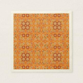 Tribal Batik - shades of amber and brown Paper Napkin