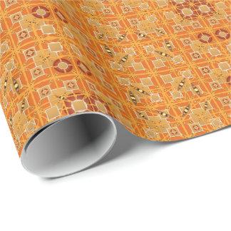Tribal Batik - shades of amber and brown Wrapping Paper