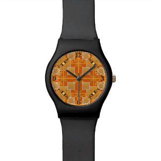Tribal Batik - shades of amber and brown Wristwatch