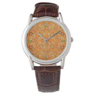 Tribal Batik - shades of amber and brown Wristwatches