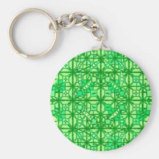 Tribal Batik - shades of green Keychain