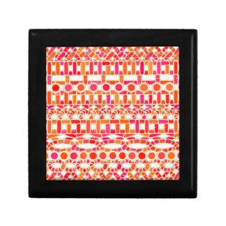 Tribal Batik - shades of orange and pink Trinket Box