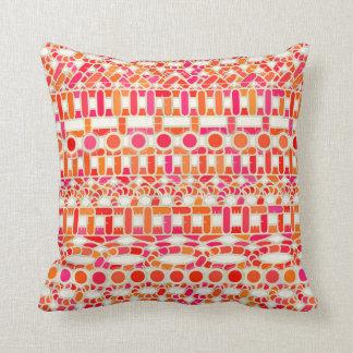 Tribal Batik - shades of orange and pink Pillow