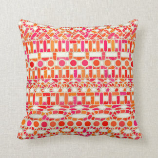 Tribal Batik - shades of orange and pink Throw Pillow