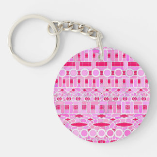 Tribal Batik - shades of pink Single-Sided Round Acrylic Keychain