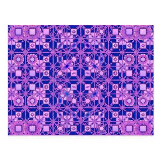 Tribal Batik - shades of purple Postcard