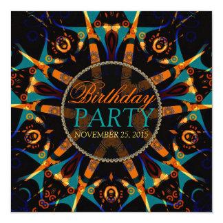 Tribal Batik Star Birthday Party Invitation