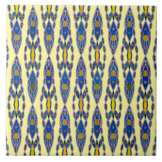 Tribal Batik - Steel Blue, Grey and Yellow Ceramic Tile