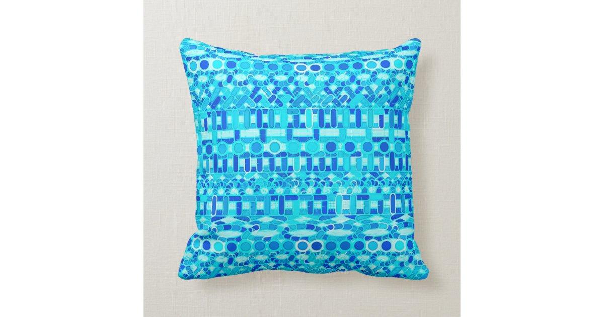 Cerulean Blue Throw Pillows : Tribal Batik - turquoise, aqua and cobalt blue Throw Pillow Zazzle