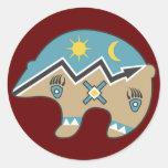 Tribal  Bear Design Classic Round Sticker