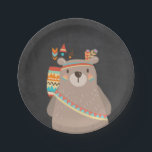 """Tribal Bear Paper Plates Wild one Woodland Boho<br><div class=""""desc"""">♥ A perfect addition to your party! Tribal Bear theme.</div>"""