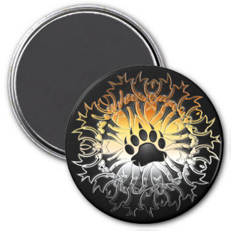 Tribal Bear Pride Paw 3 Inch Round Magnet