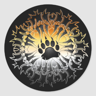 Tribal Bear Pride Paw Classic Round Sticker