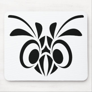 TRIBAL BIRD MASK GRAPHIC BLACK WHITE LOGO MOUSE PAD