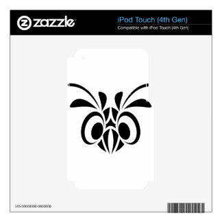 TRIBAL BIRD MASK GRAPHIC BLACK WHITE LOGO SKIN FOR iPod TOUCH 4G