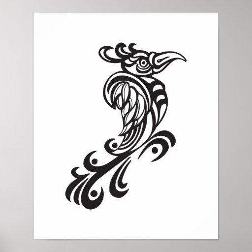 Tribal Bird Tattoo Design Posters