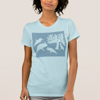 Tribal Birds Women's T-Shirt Baby Blue