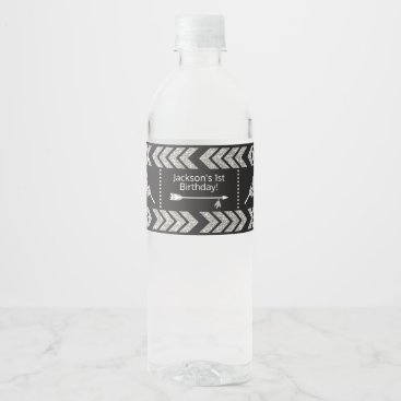 Aztec Themed Tribal Birthday Water Bottle Labels | Silver Black