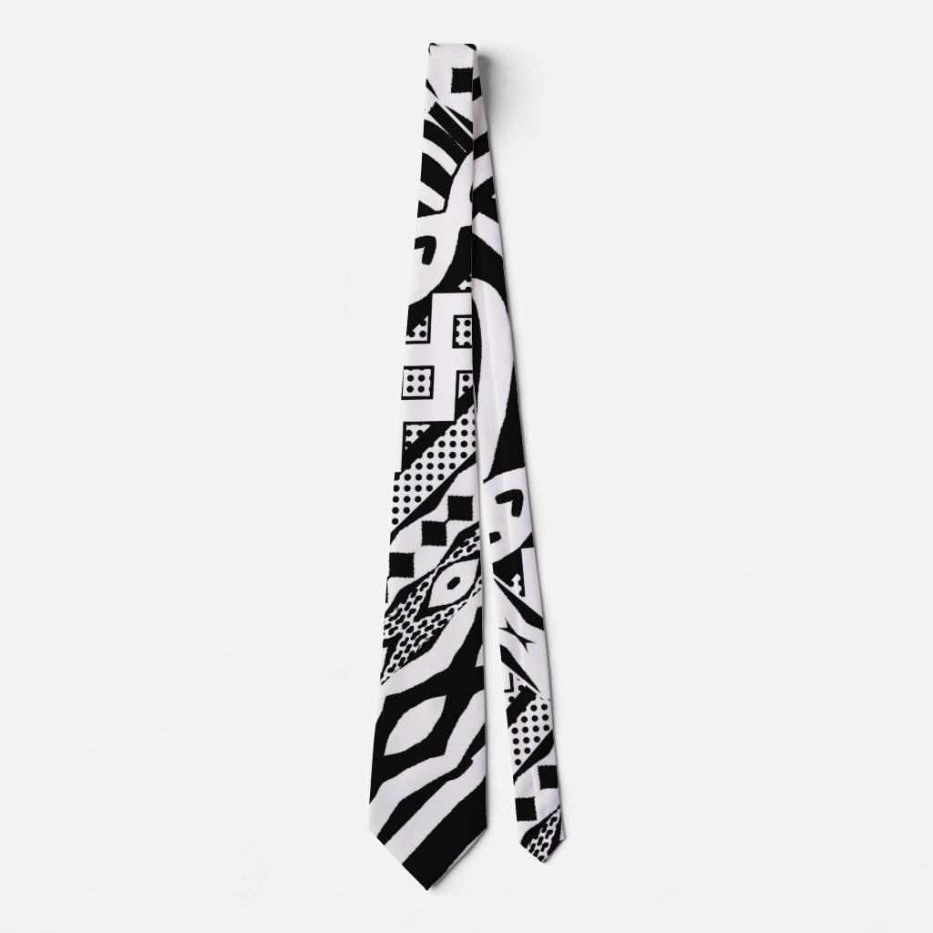 Tribal Black and White Zebra Patterned Tie