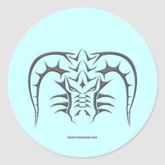 Tribal Black Dragon Head Classic Round Sticker