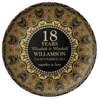 Tribal Black Gold Custom Anniversary Gift Plate