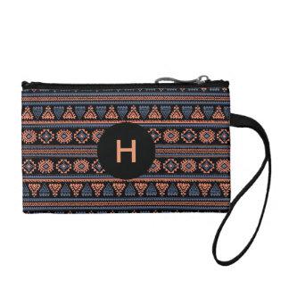 Tribal black retro Ethnic vintage pattern Wristlet