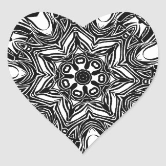 tribal black star heart sticker
