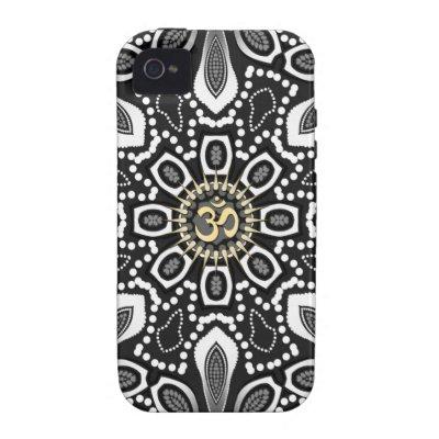 Tribal Black+White Aum iPhone 4 Case-Mate