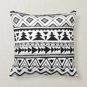 Aztec Themed Tribal black white boho mexican aztec style pillow
