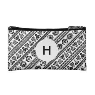 Tribal black white Ethnic vintage pattern Wristlet