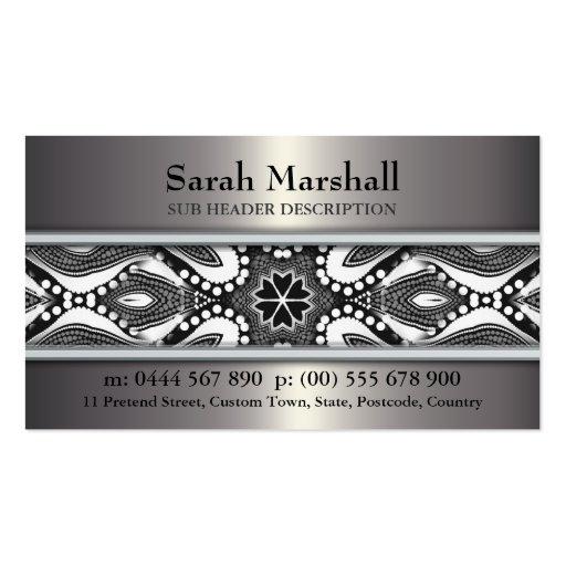 Tribal Black+White & Metallic w/ Logo Business Car Business Card Templates