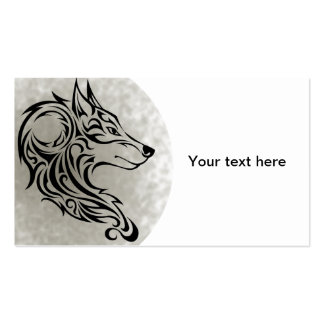 Tribal black Wolf 1 Business Card Template