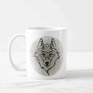 Tribal black Wolf 2 in the moon Coffee Mug